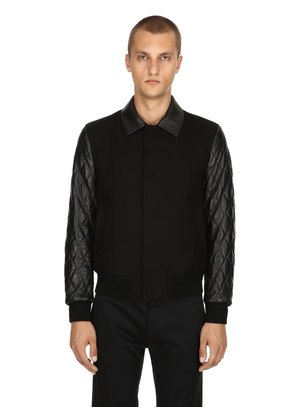 QUILTED LEATHER & COTTON JACKET