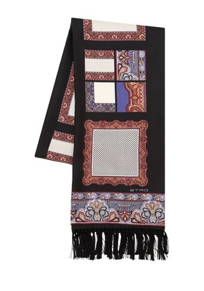 ETHNIC PRINTED FRINGED SILK SCARF
