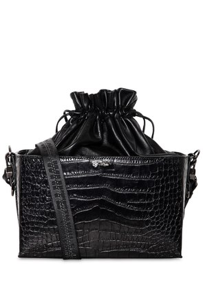 CROC EMBOSSED LEATHER SOFT BOXY BAG