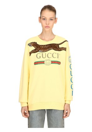 GUCCI PRINT COTTON JERSEY SWEATSHIRT
