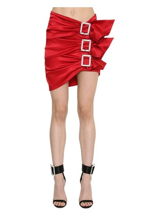 STRETCH SILK SATIN SKIRT W/ BUCKLES