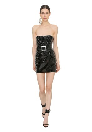 STRAPLESS PATENT LEATHER MINI DRESS