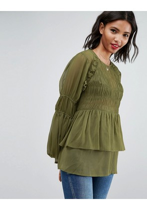 ASOS Sheer Crinkle Blouse With Poets Sleeve - Olive