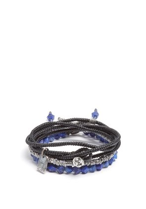 Set of three lapis and silver bracelets
