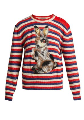 Striped wool and mohair-blend rabbit sweater