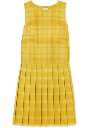 Tomas Maier - Pleated Checked Cotton-voile Dress - Yellow