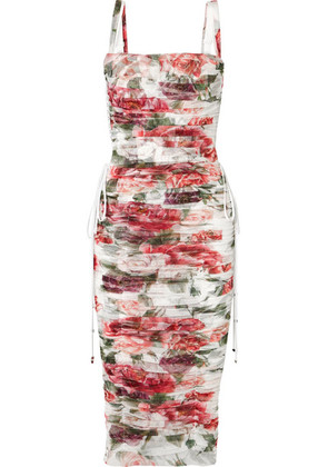 Dolce & Gabbana - Lace-up Ruched Floral-print Cotton And Silk-blend Tulle Midi Dress - White