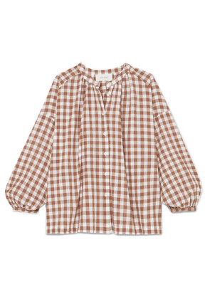 The Great - The Handsome Oversized Gingham Cotton-voile Shirt - Brown