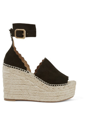 Chloé - Lauren Suede Espadrille Wedge Sandals - Black