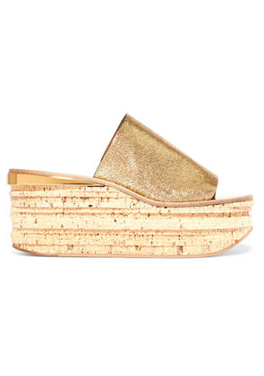 Chloé - Camille Metallic Cracked-leather Wedge Sandals - Gold