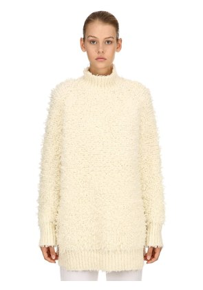 FUR EFFECT WOOL BLEND KNIT SWEATER