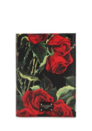 FLORAL PRINTED LEATHER PASSPORT HOLDER