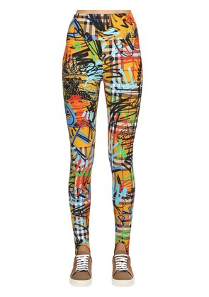 GRAFFITI CHECK PRINTED LYCRA LEGGINGS