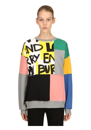 PATCHWORK COTTON JERSEY SWEATSHIRT