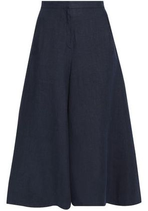 Valentino Woman High-rise Linen Culottes Midnight Blue Size 40