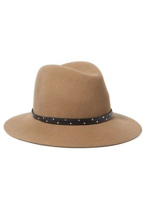 Rag & Bone Woman Studded Leather-trimmed Wool-felt Fedora Camel Size M