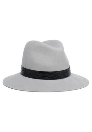 Rag & Bone Woman Croc-effect Leather-trimmed Wool Fedora Light Gray Size S