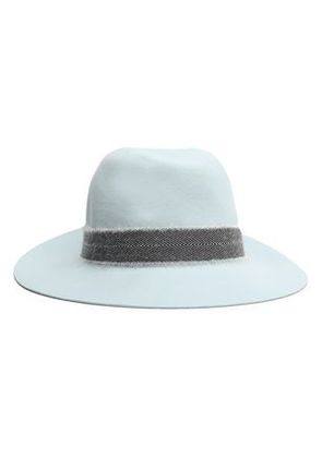 Rag & Bone Woman Frayed Herringbone-trimmed Wool Fedora Sky Blue Size M