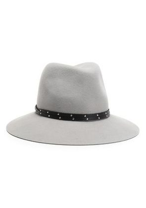 Rag & Bone Woman Studded Leather-trimmed Wool Fedora Gray Size M