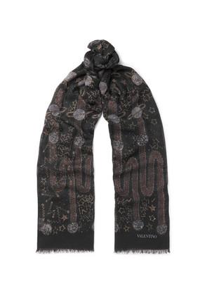 Glaxay Fringed Printed Modal And Cashmere-blend Scarf