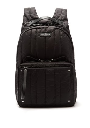 Rockstud quilted nylon backpack