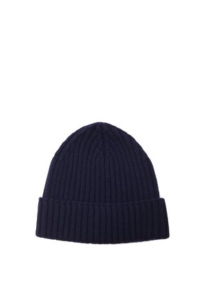 Ribbed-knit cashmere beanie hat