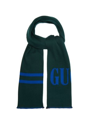 Reversible logo-jacquard wool and silk-blend scarf