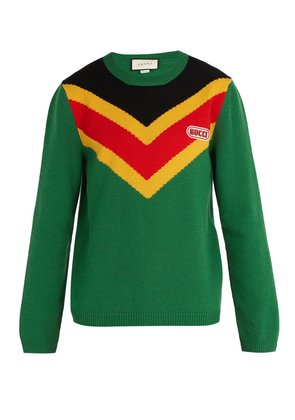 Chevron-intarsia wool sweater