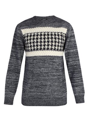 Houndstooth intarsia wool-blend sweater