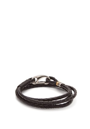 Triple-wrap leather bracelet