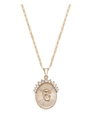 Skull-embossed medallion necklace