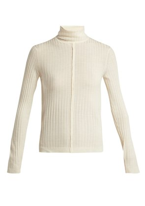 Roll-neck ribbed wool sweater