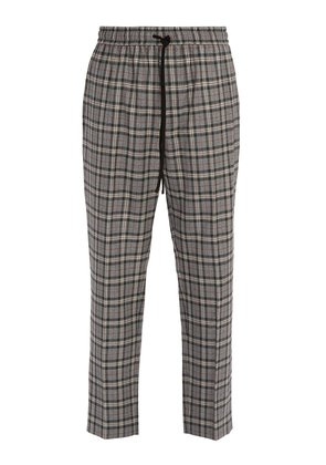 Mid-rise check wool trousers