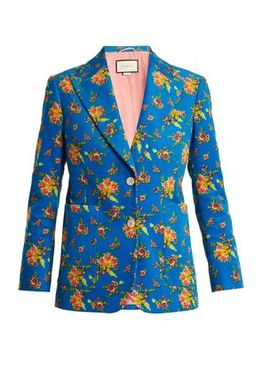 Single-breasted floral-print corduroy jacket