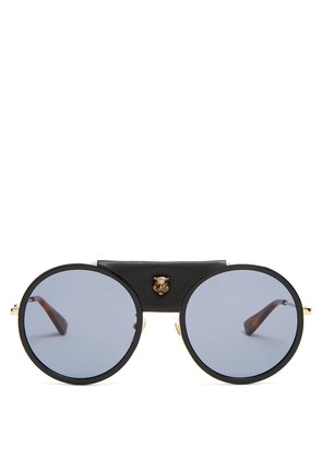 Round-frame leather-trimmed metal sunglasses