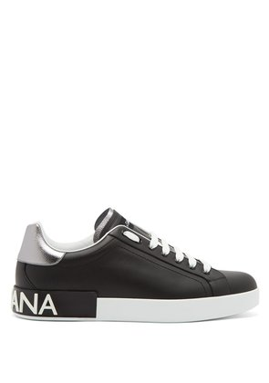 Low-top leather logo trainers