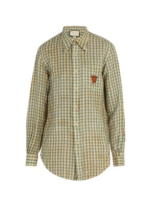 Embroidered checked linen shirt