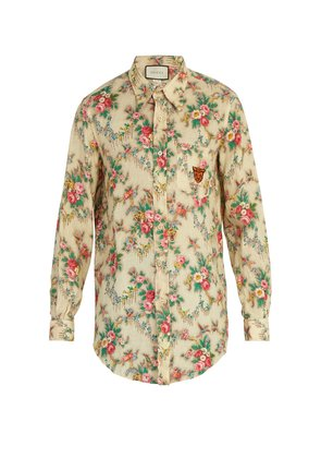 Tiger-embroidered floral-print linen shirt