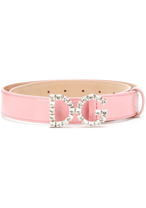 Dolce & Gabbana crystal logo belt - Pink & Purple