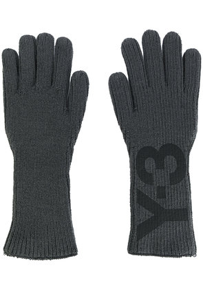 Y-3 logo print gloves - Grey