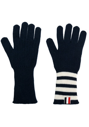 Thom Browne striped rib cuff gloves - Blue