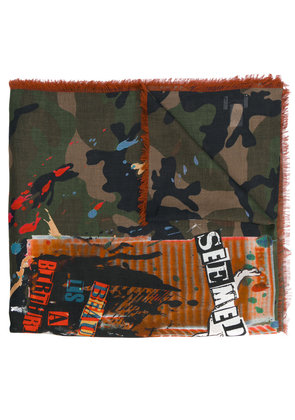 Valentino thin camouflage print scarf - Green