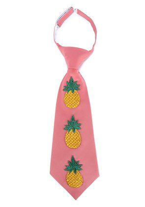 Gucci Embroidered Pineapple Silk-Blend Tie - Pink & Purple