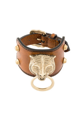 Gucci Leather bracelet with feline head - Brown
