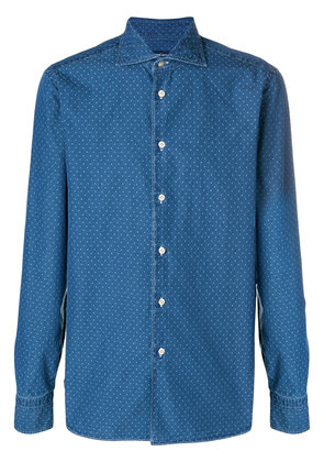 Borriello micro print denim shirt - Blue