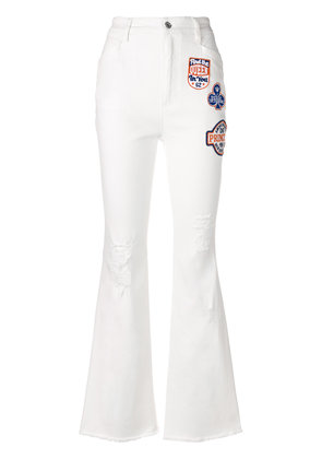 Dolce & Gabbana applique patch flared jeans - White