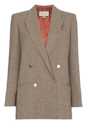 Gucci Houndstooth linen jacket with back patch - Brown