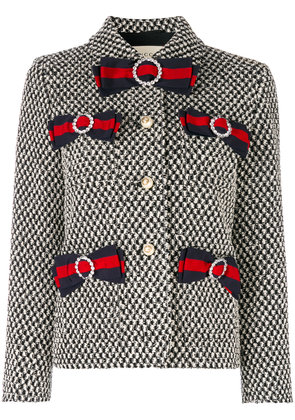 Gucci tweed jacket with bows - Black