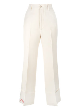 Gucci Loved embroidered wide-leg trousers - Nude & Neutrals