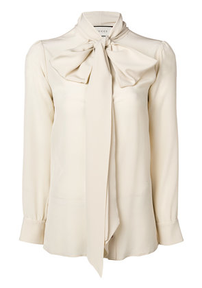 Gucci bow-neck ladybug buttons blouse - Nude & Neutrals